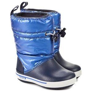Crocs Kids Snow Boots in Navy/Sea Blue Size 10